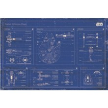STAR WARS - BLUEPRINT OVER OPRØRSALLIANCENS FLÅDE - PLAKAT