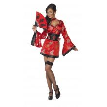 Rød Geisha Kostume
