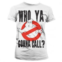 Ghostbusters Who Ya Gonna Call Dame T-Shirt Hvid