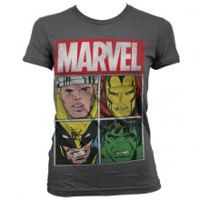 Marvel Distressed Characters Girly T-Shirt Mørkegrå