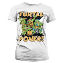 TMNT - Turtle Power! Girly T-Shirt Hvid