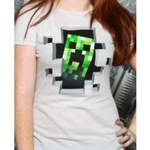 Minecraft Creeper Inside Dame T-Shirt
