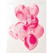 Balloner Lyserøde Marmor 12-pak