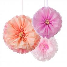 Pompom Blomster Hængende Dekoration 3-pak