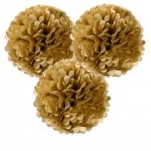 Pompom Guld Hængende Dekoration 3-pak