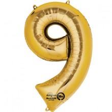 Number Ballon Guld 9