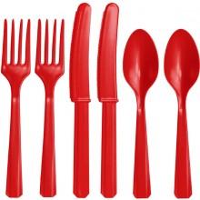 Röda plastbestick
