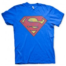 SUPERMAN WASHED SHIELD T-SHIRT (BLÅ)