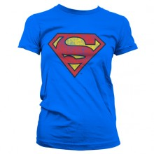 SUPERMAN WASHED SHIELD PIGE T-SHIRT (BLÅ)